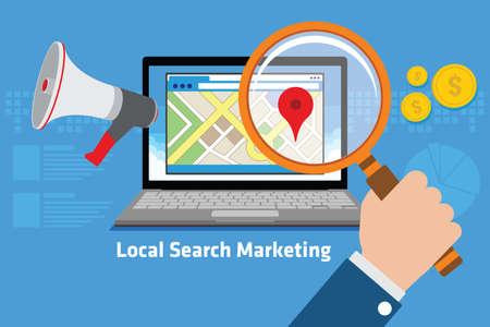 mercadotecnia: marketing en buscadores ilustración vectorial concepto de diseño locales