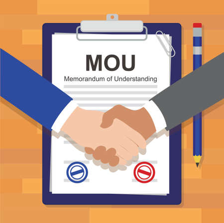 signing papers: mou memorandum of understanding legal document agreement stamp vector illustration