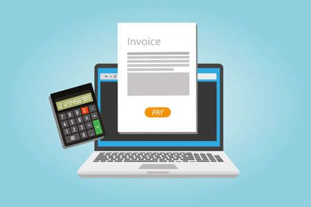 invoice invoicing online service pay vector illustration Çizim