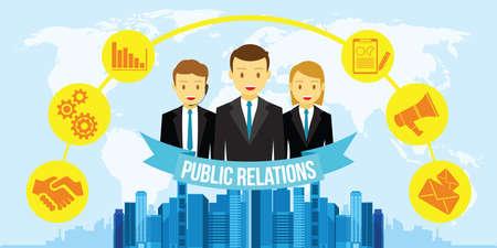 relaciones publicas: El dise�o plano de relaciones p�blicas PR ilustraci�n vectorial Vectores