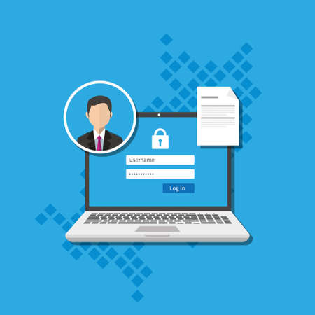 access management authorize software authentication login form system vector illustration 免版税图像 - 60230534