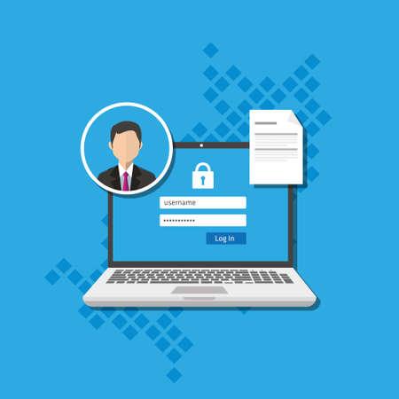 gestion d'accès logiciel autorisent vecteur connexion authentification du système de forme illustration