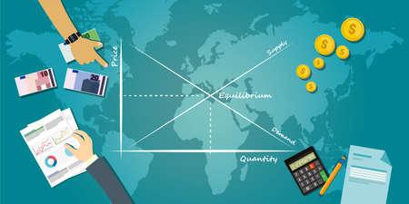 economic theory: market equilibrium balance economy concept economic theory chart vector illustration Illustration