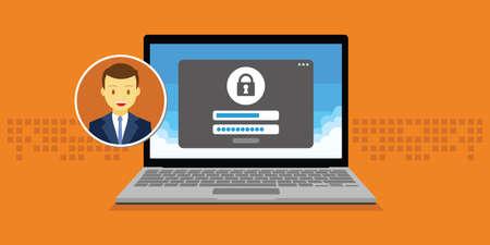 access management machtigen software authenticatie login formulier systeem vector illustratie Stock Illustratie