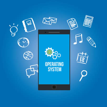 operating system: OS operating system on mobilephone vector illustration