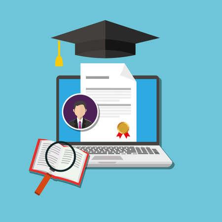 Online graad onderwijs vector illustration design concept Stock Illustratie