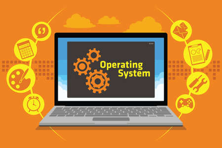 operating system: OS operating system on laptop vector illustration
