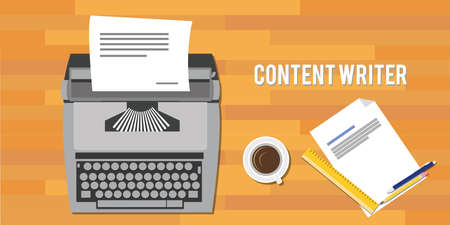 copywriter: content writer as copywriter with typewriter vector illustration