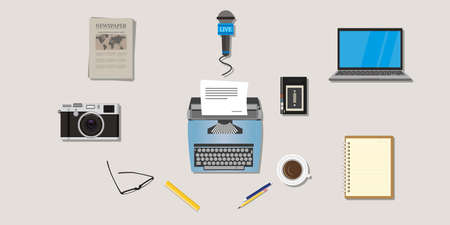 type writer: journalist press icon objects isolated vector camera type writer laptop microphone interview recorder note newspaper pen pencil vector