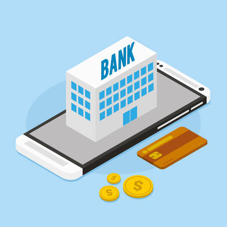 mobile banking: mobile banking with bank building vector illustration Illustration
