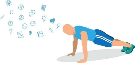 man push up exercise vector illustration design