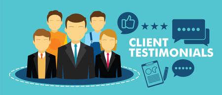 assess: client testimonial feedback vector illustration design concept