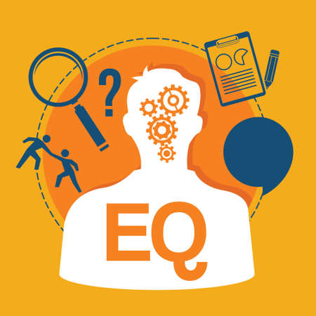 EQ coeficiente emocional ilustración vectorial diseño de la inteligencia