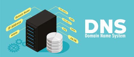 proxy: DNS Domain Name System Server vector illustration