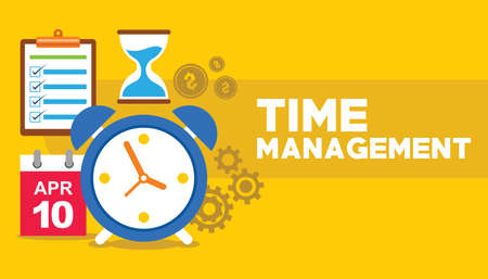 time management clock flying with gear business concept vector