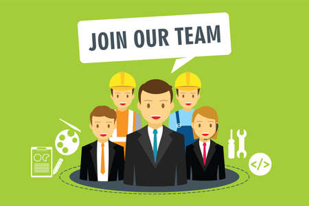 join our team: join our team in company vector illustration flat design Illustration