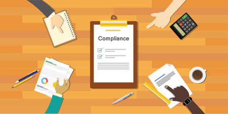 gobierno corporativo: compliance to regulation process standard industry company vector illustration