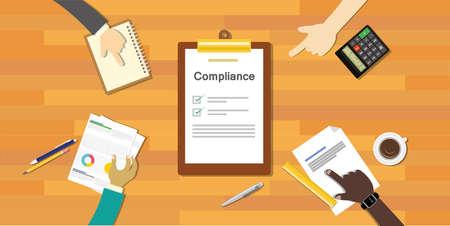 el cumplimiento de la regulación proceso de ilustración vectorial compañía estándar de la industria
