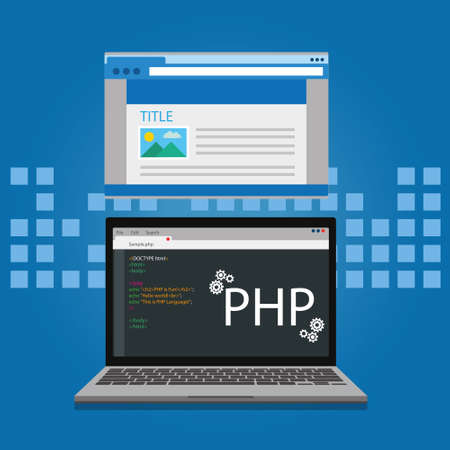 php: PHP programming and coding concept website development illustration