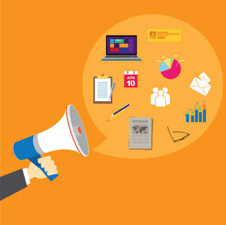 relations: pr public relations with megaphone vector illustration