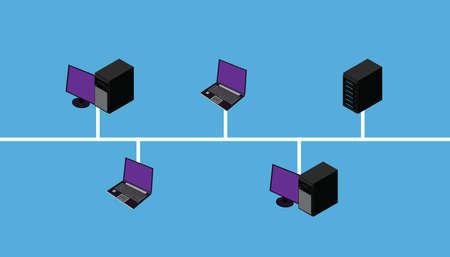 Network connection lan wan topology vector illustration