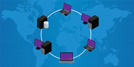 network topology: Network connection lan wan ring topology vector illustration
