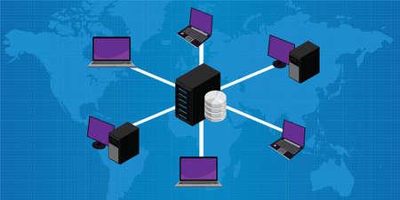 lan: Network connection lan to server vector illustration