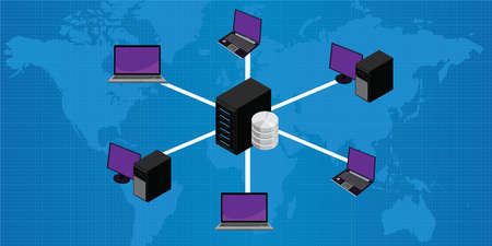 Network connection lan to server vector illustration