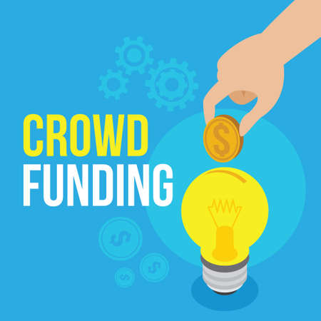 crowdfunding illustration Bulb with blue background vector design