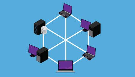 Network full connection lan wan topology vector illustration