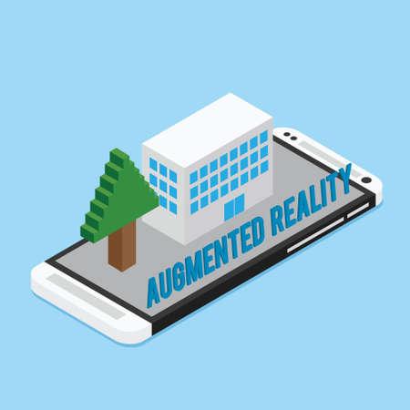 AR augmented reality concept illustration flat design Illustration