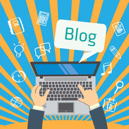 Blogging with laptop write article flat design Ilustração