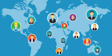 global communication: social network media interconnected people around the world vector illustration Illustration