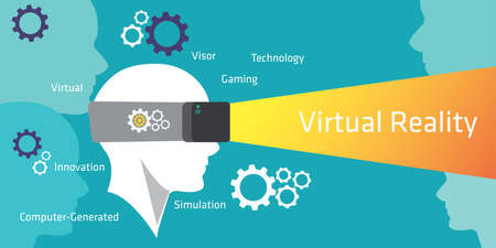 virtual reality simulator: VR virtual reality simulator device by illustration vector