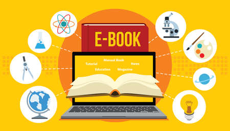 electronic book ebook with laptop and yellow background vector illustration Illustration
