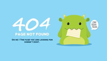 404 página no encontrada con el monstruo come la página ilustración vectorial