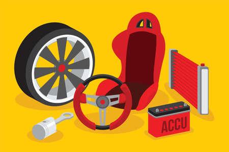 automotive spare parts flat design vector illustration