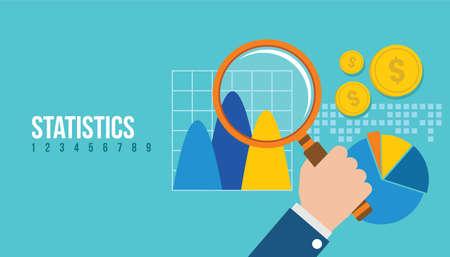 graphics design: financial statistics report graph vector illustration concept design