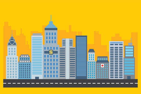 city building skycraper vec tor illustration design concept