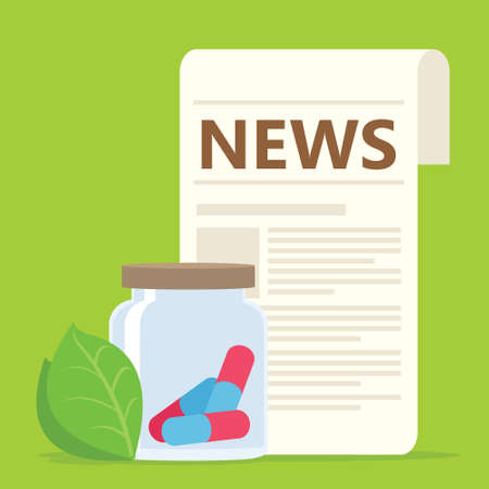 health news with herbal medication vector illustration