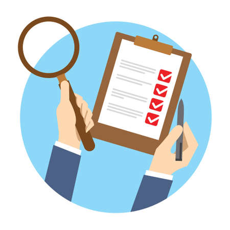 quality check: qc quality control check vector illustration concept