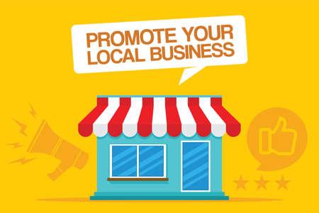 promoten van uw lokale bedrijf vectorillustratieontwerp