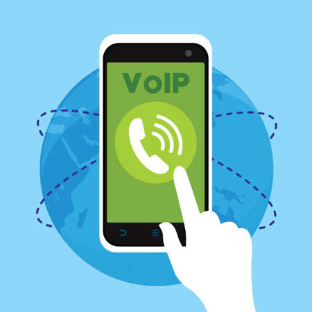 voip telephone with internet connection vector illustration concept design