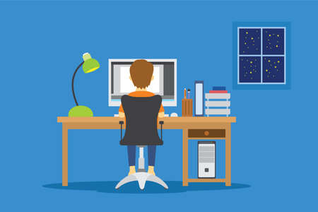 overtime work at night man in the front of computer vector illustration Stock Photo