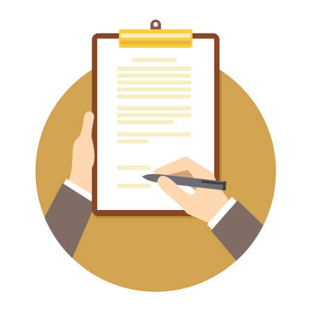 signing papers: signing business contract agreement document illustration vector design