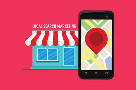 ecommerce di marketing ricerca locale con illustrazione vettoriale negozio