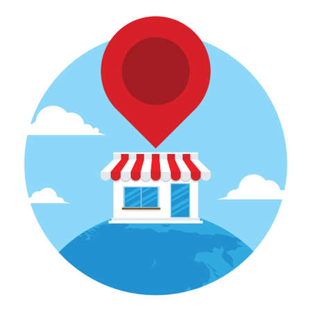 find shop icon at amp vector illustration design