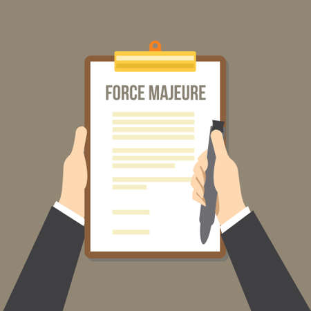 force majeure included in contracts to remove liability for unavoidable catastrophes that restrict participants fulfilling obligations Vettoriali