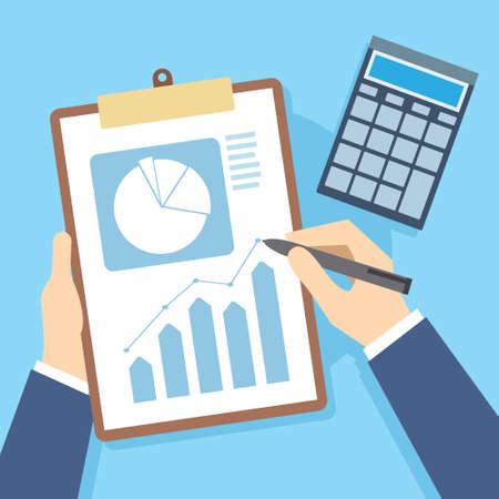Informe de finanzas Documentos de negocios y ilustración vectorial de contabilidad Foto de archivo - 76787048