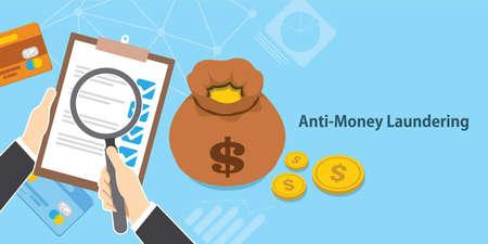Anti lavado de dinero AML efectivo moneda crédito transacción empresa vector illustration Foto de archivo - 76787070